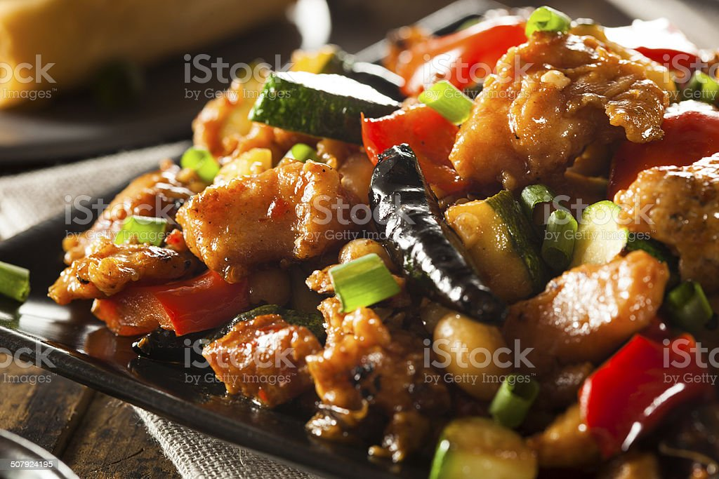Homemade Kung Pao Chicken stock photo