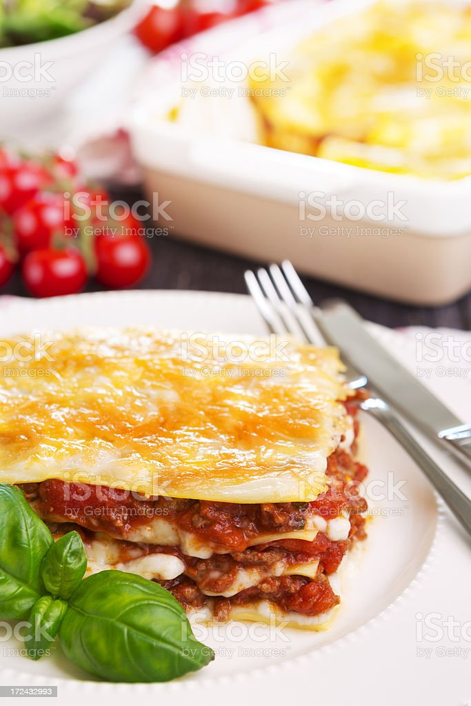 Homemade lasagna on a brightly lit table royalty-free stock photo