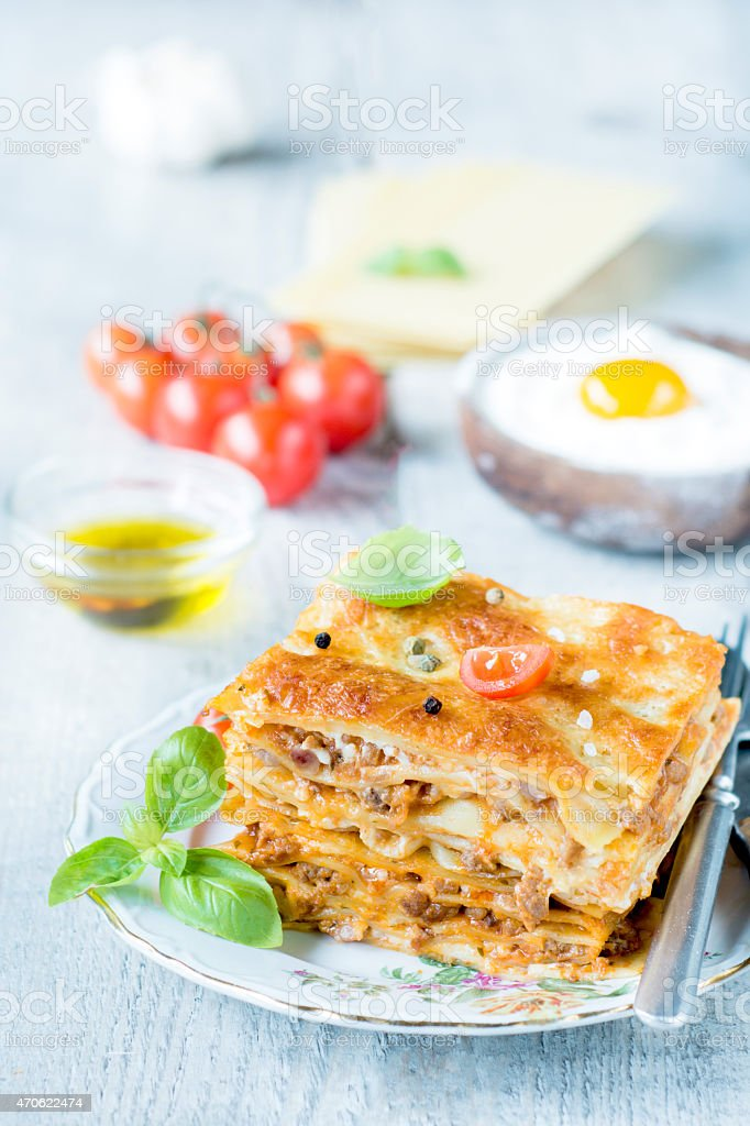 Homemade lasagna stock photo