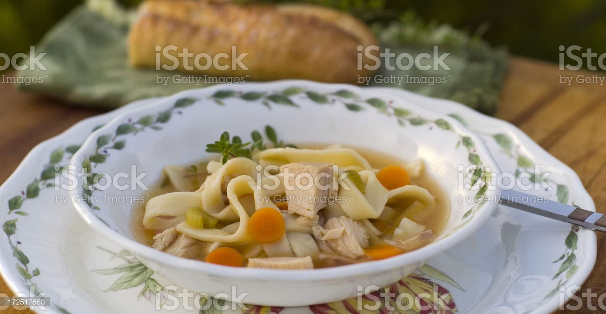 Homemade Leftover Food; Chicken or Turkey Noodle Soup Dinner royalty-free stock photo