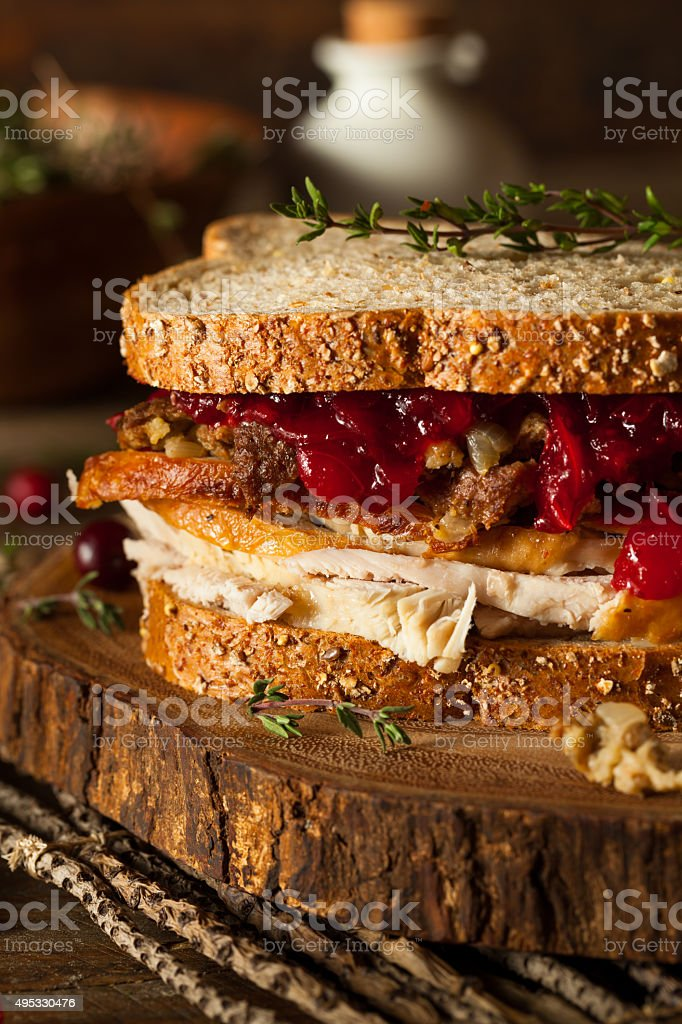 Homemade Leftover Thanksgiving Sandwich stock photo