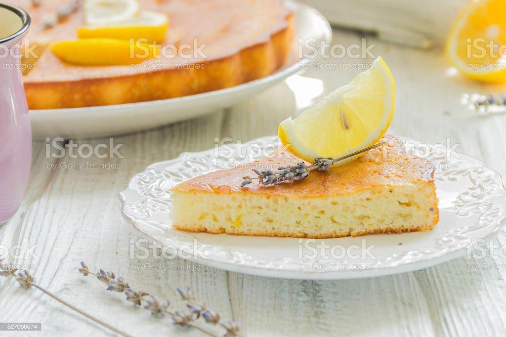 Homemade lemon pie with lavender stock photo