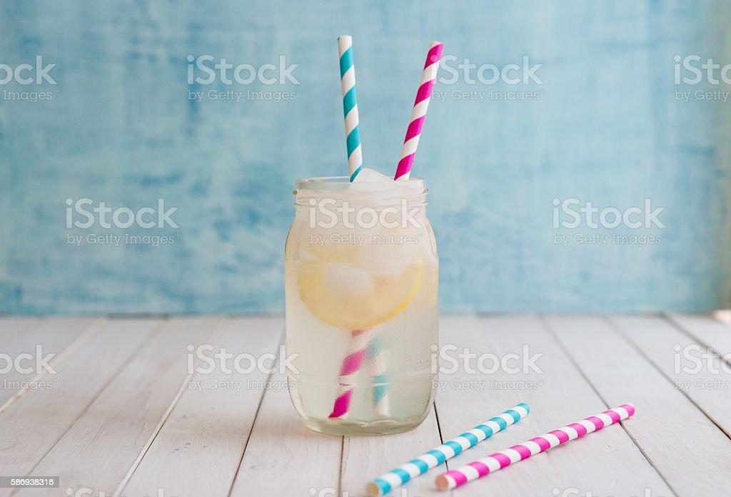 Homemade lemonade in glass jar stock photo