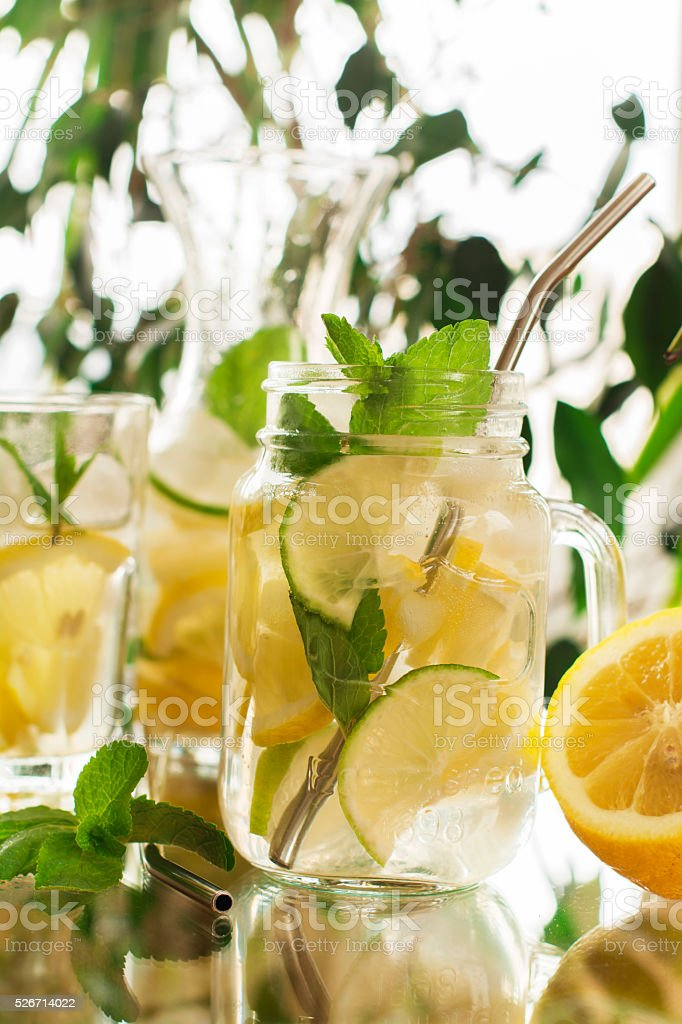 Homemade lemonade in mason jar stock photo