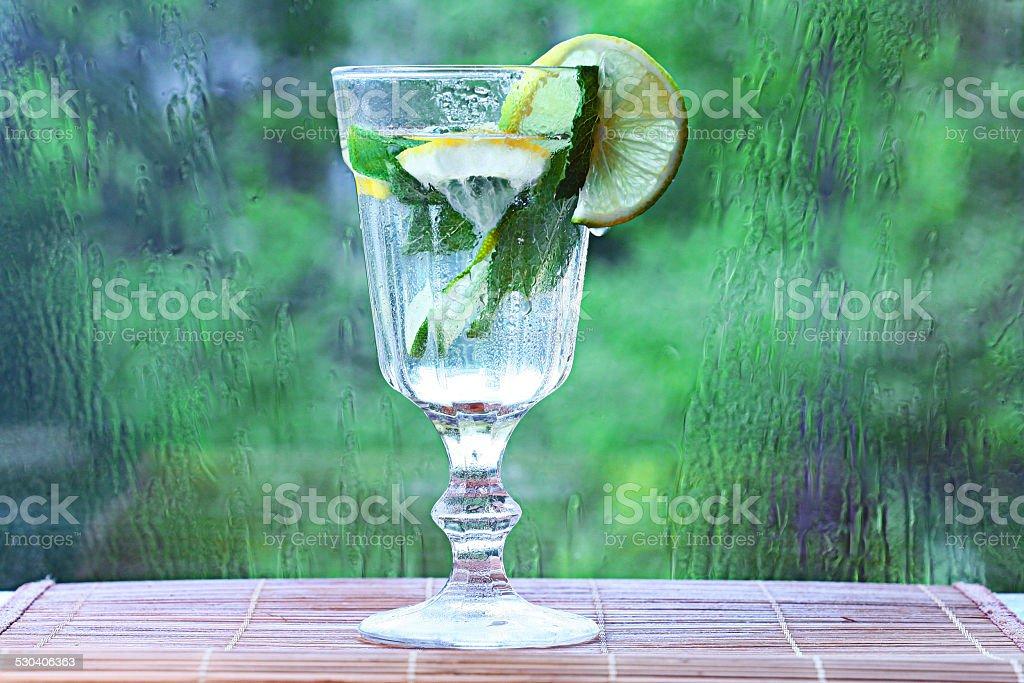 homemade lemonade lemon mint ice in a glass stock photo