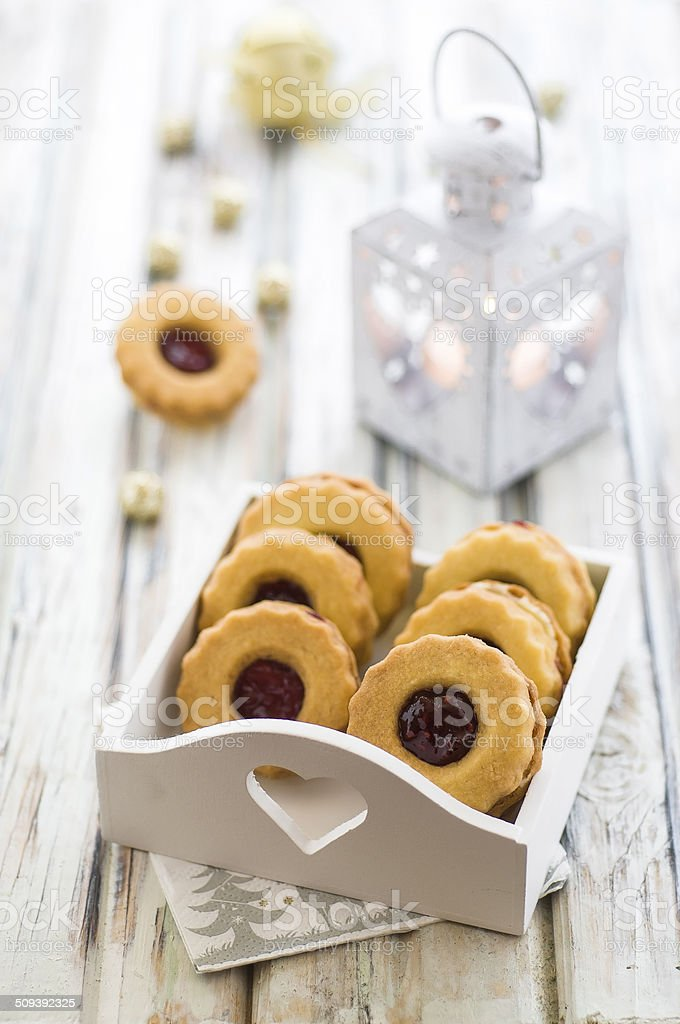 Homemade Linzer cookies stock photo