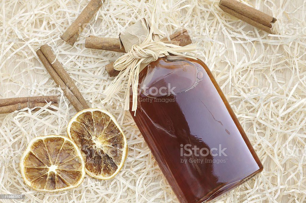 Homemade liqueur with spices - still life stock photo
