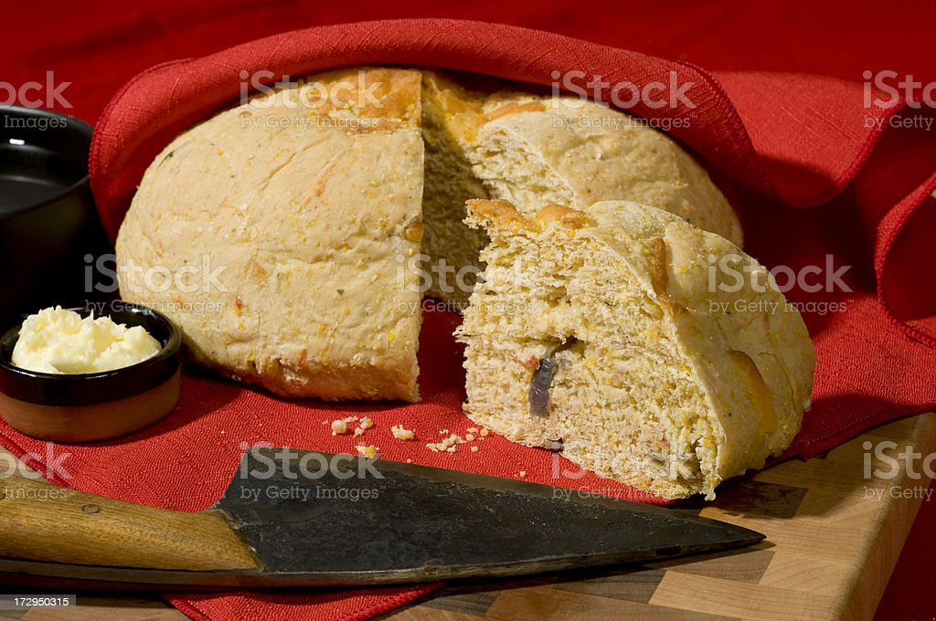 Homemade loaf of Western Style Cornbread-one wedge cut royalty-free stock photo