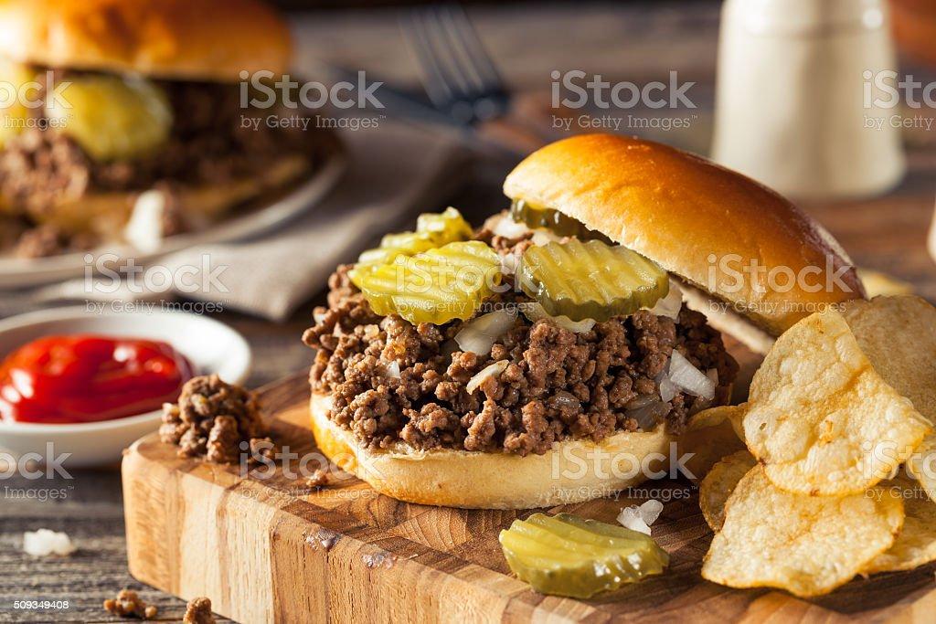 Homemade Loose Meat Tavern Sandwich stock photo