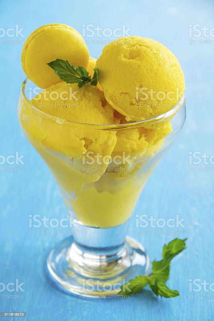 Homemade mango ice cream. stock photo