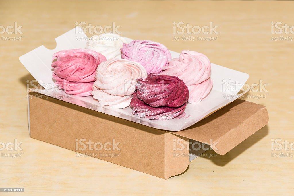 Homemade marshmallow in the box stock photo