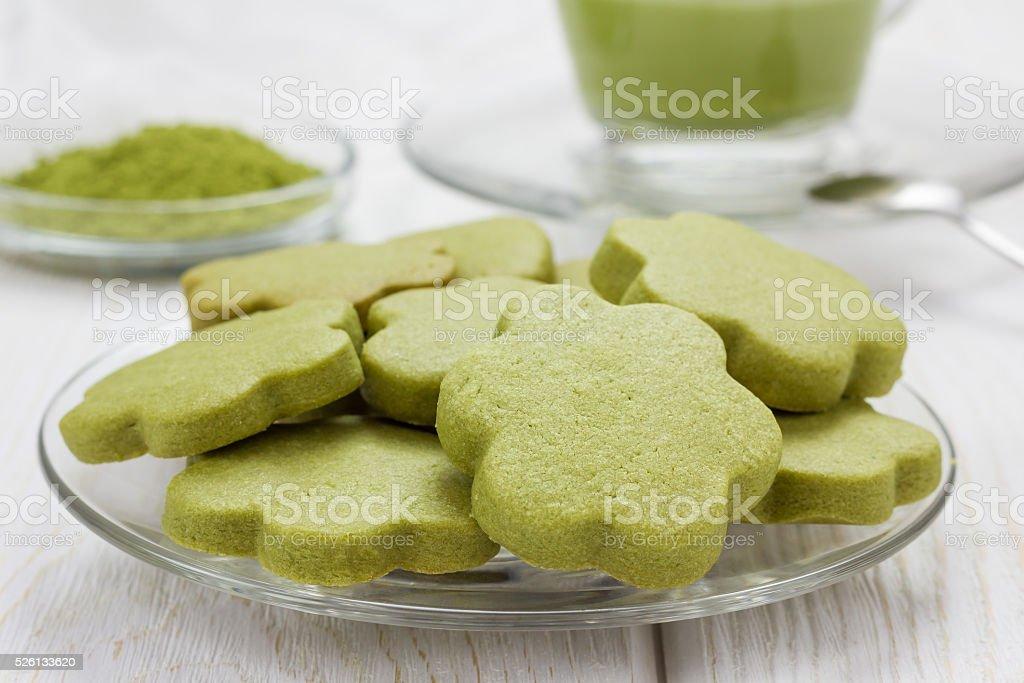 Homemade matcha green tea shortbread cookies stock photo