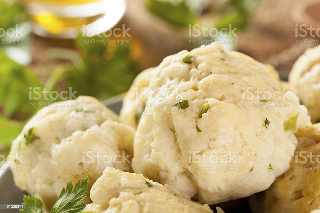 Homemade Matzo Balls with Parsley royalty-free stock photo