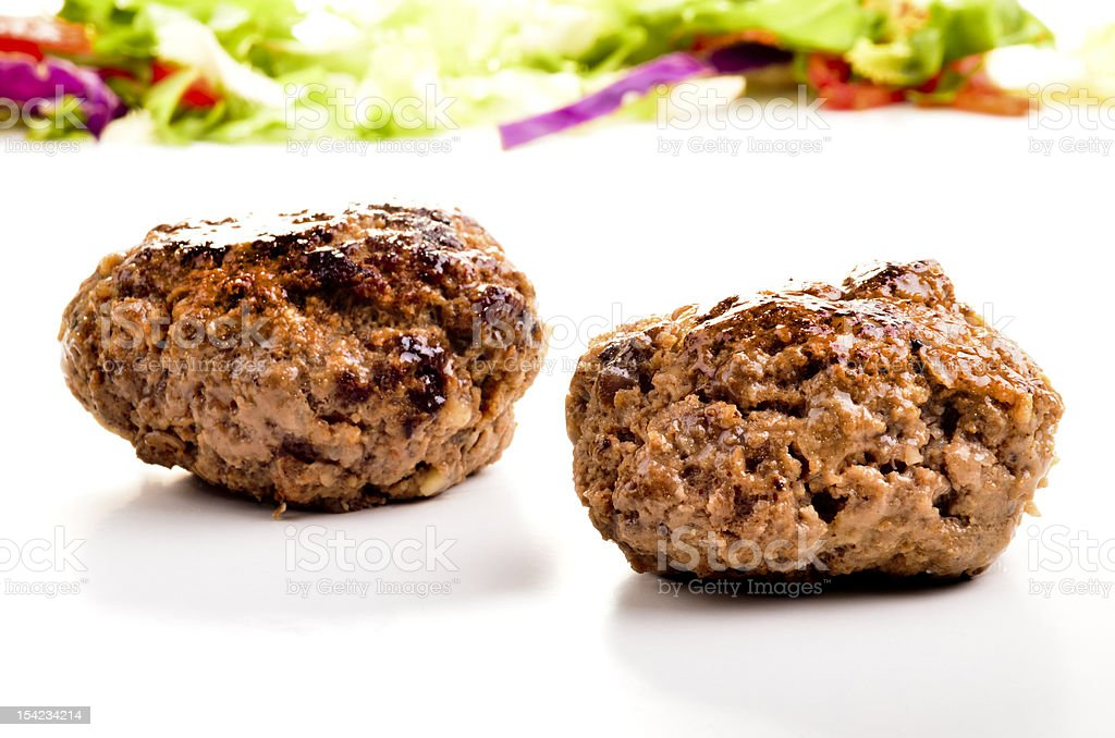 homemade meat balls and salad in the background royalty-free stock photo