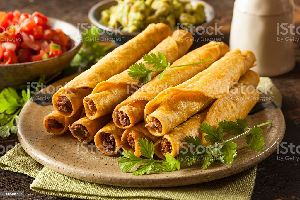 Homemade Mexican Beef Taquitos stock photo