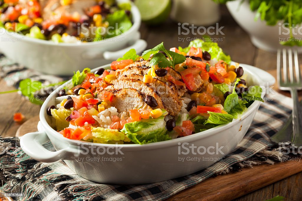 Homemade Mexican Chicken Burrito Bowl stock photo