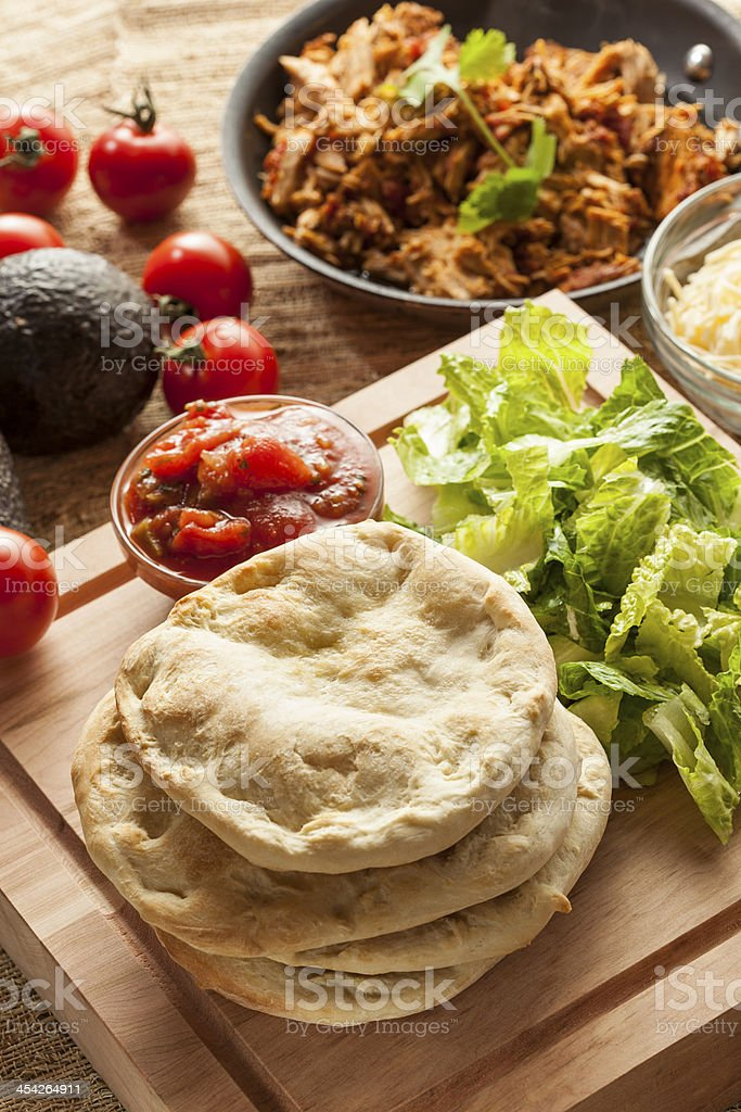Homemade Mexican Flatbread Taco with meat royalty-free stock photo