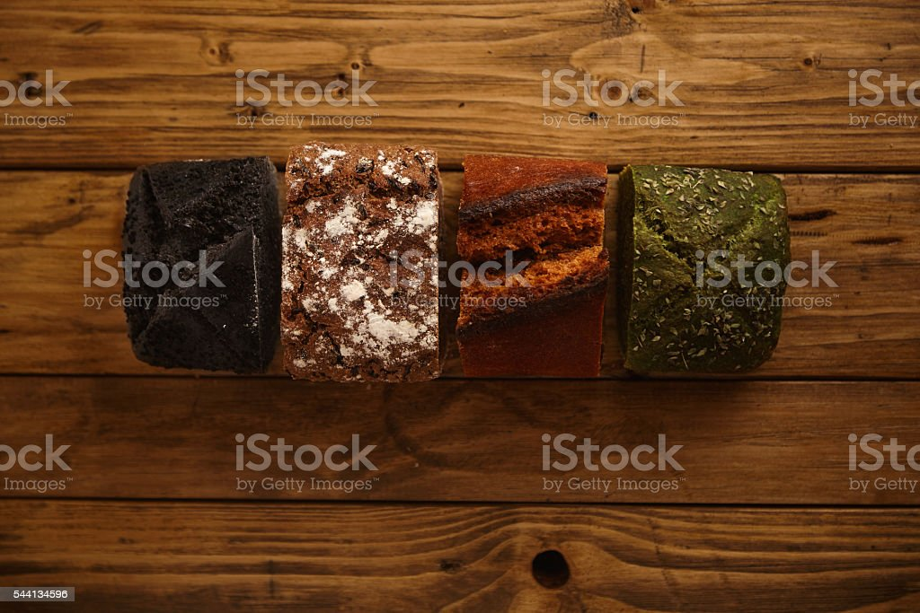 Homemade mixed breads presented for sale stock photo
