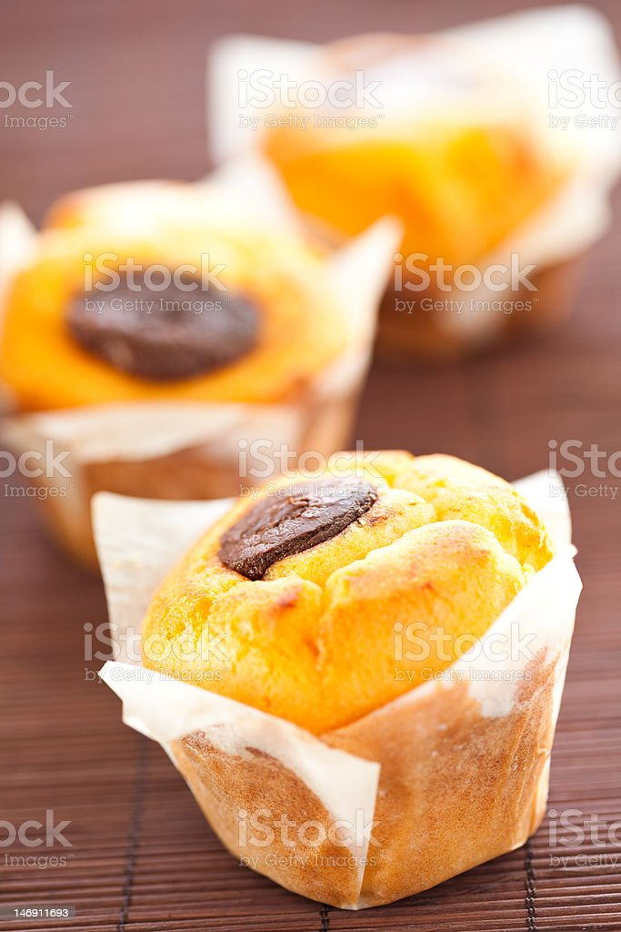 homemade muffin filled with chocolate royalty-free stock photo