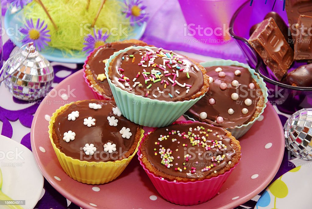homemade muffins on birthday party table royalty-free stock photo