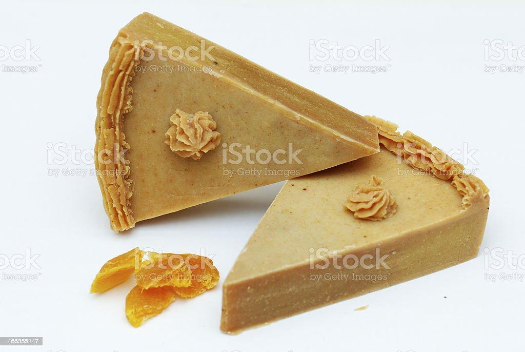 Homemade natural apricot soap royalty-free stock photo