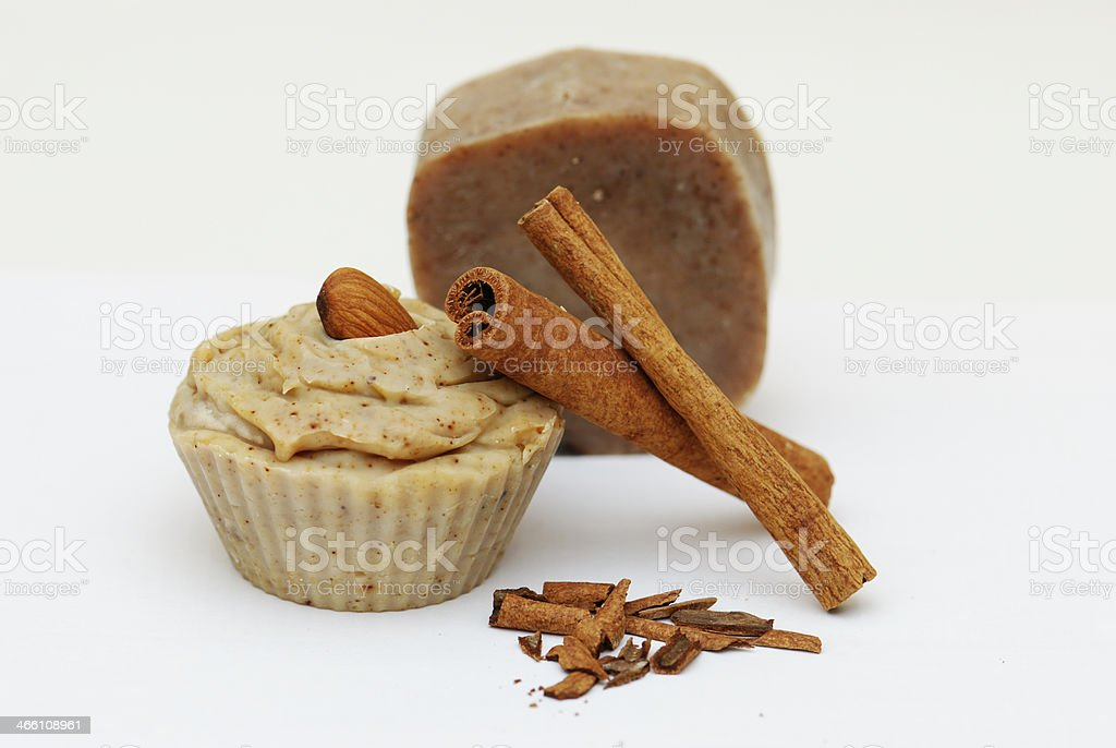 Homemade natural cinnamon and almond soap royalty-free stock photo