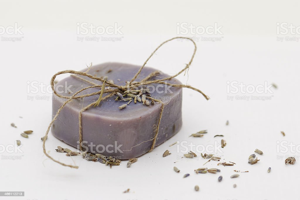 Homemade natural lavender soap royalty-free stock photo