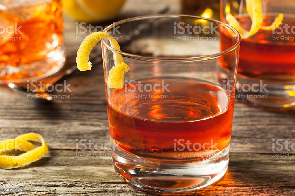Homemade New Orleans Sazerac Cocktail stock photo