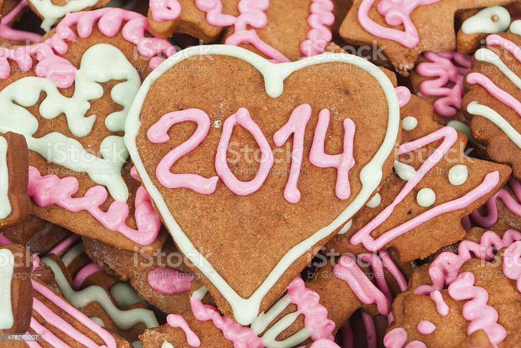 Homemade new year cookie with 2014 number royalty-free stock photo
