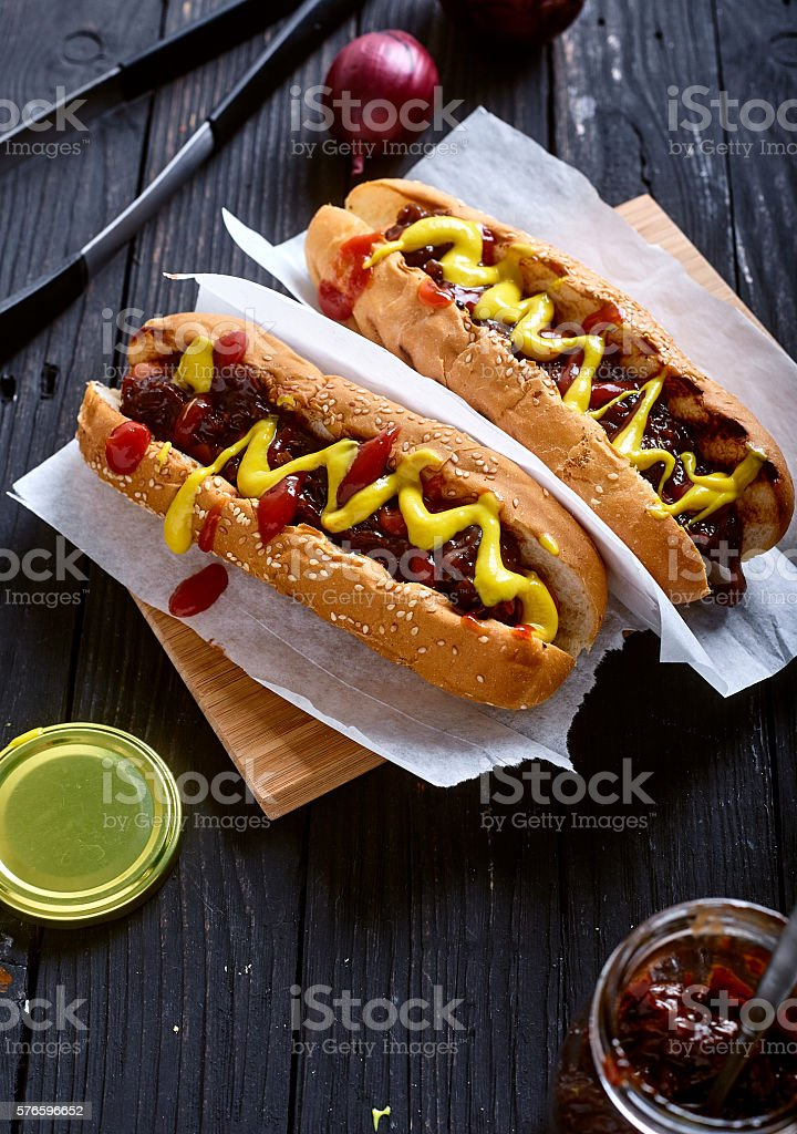 Homemade New York Style Hot Dog with Onion sauce stock photo