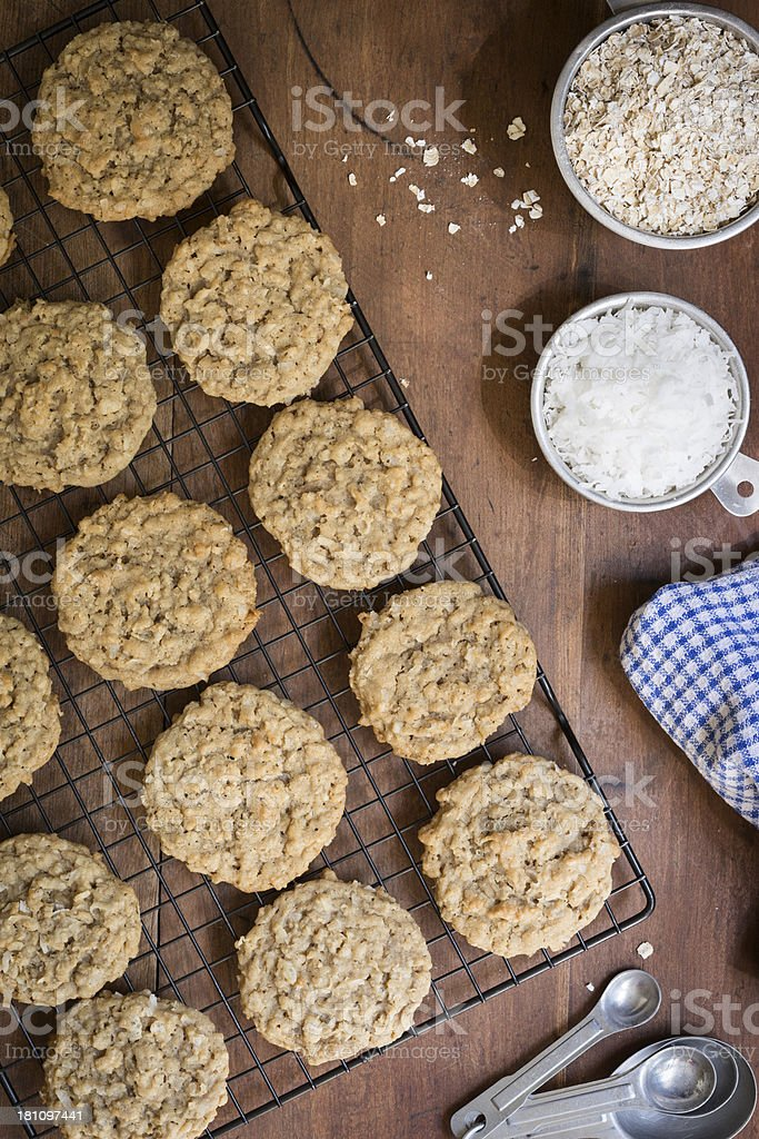 Homemade Oatmeal, Coconut and Rice Cereal Cookies from Above royalty-free stock photo