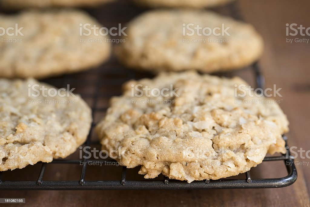 Homemade Oatmeal, Coconut and Rice Cereal Cookies Horizontal royalty-free stock photo