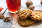 Homemade oatmeal cookies served with tea