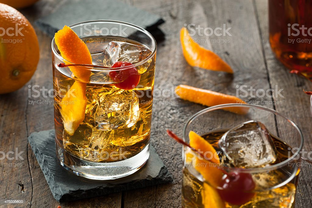 Homemade old fashioned cocktail stock photo