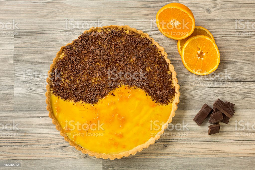 Homemade orange and chocolate tarte stock photo