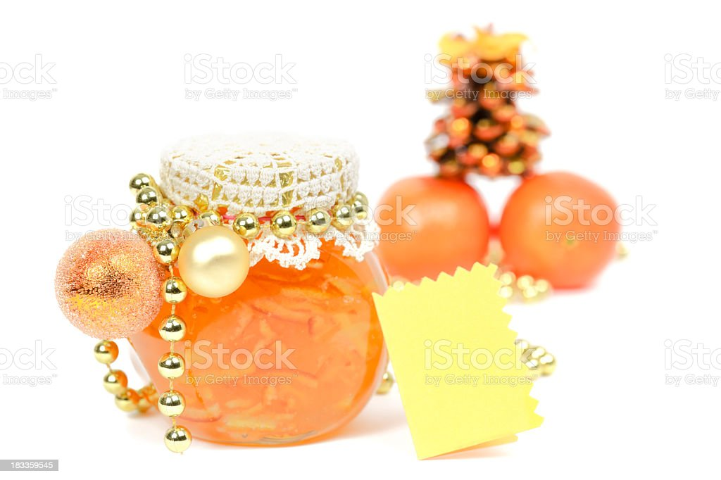 Homemade orange jam and Christmas decoration stock photo