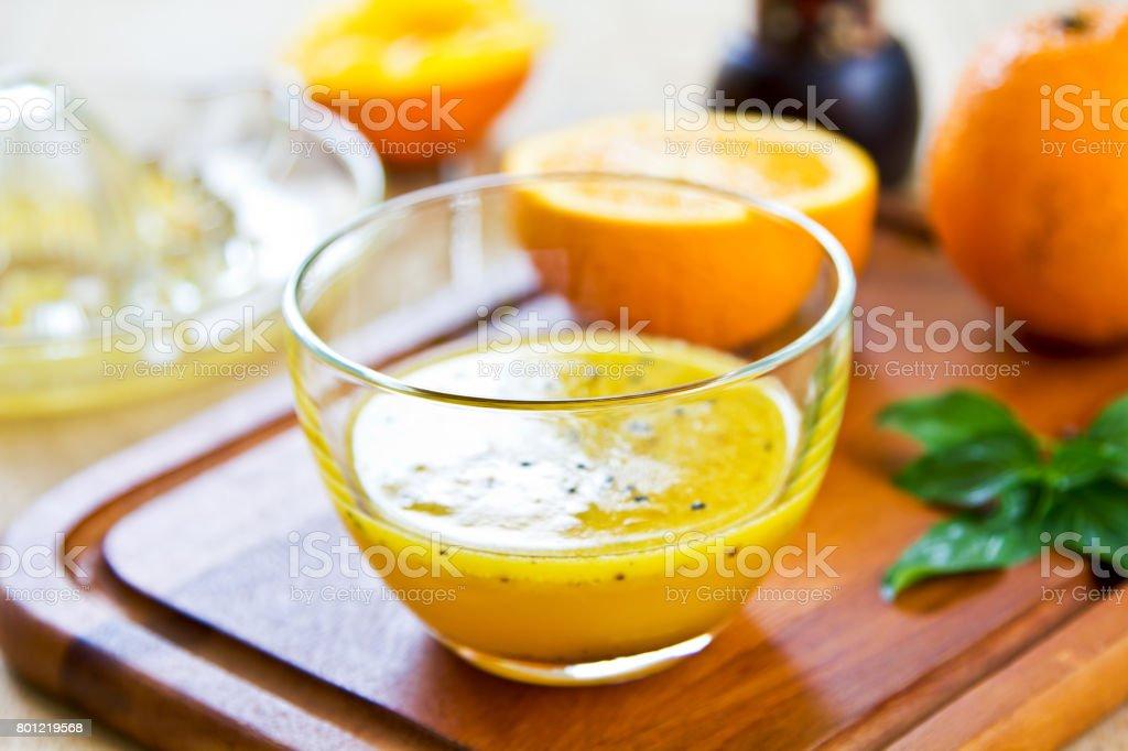 Homemade Orange with Black Sesame Vinaigrette stock photo