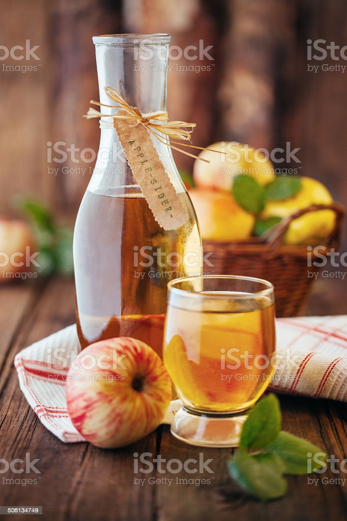Homemade organic apple cider stock photo