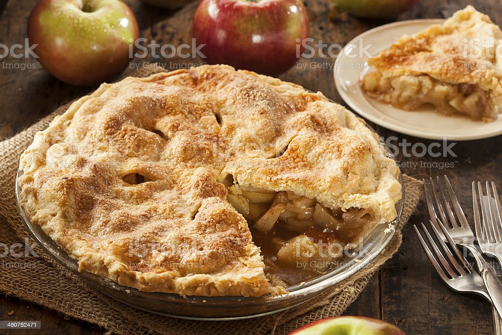 Homemade Organic Apple Pie Dessert stock photo