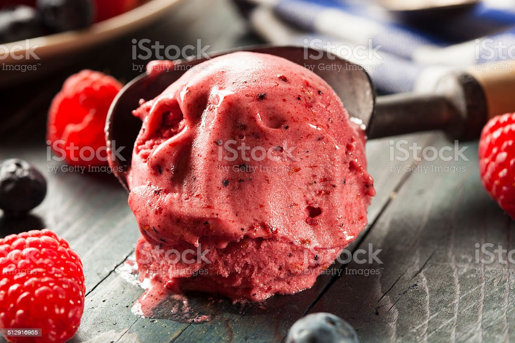 Homemade Organic Berry Sorbet Ice Cream stock photo
