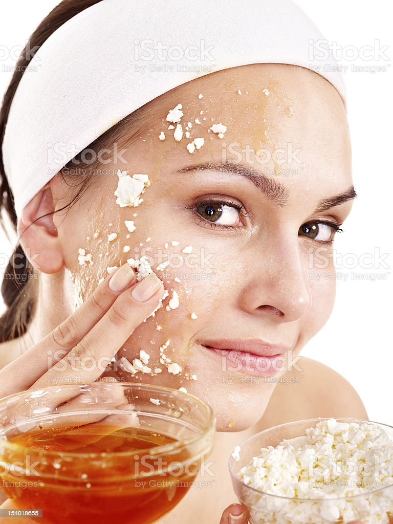 Homemade organic facial mask of honey and oats royalty-free stock photo