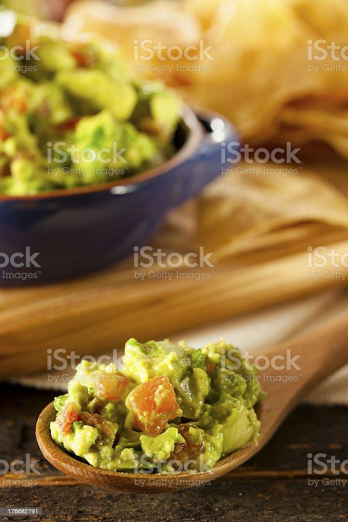 Homemade Organic Guacamole and Tortilla Chips royalty-free stock photo