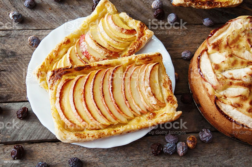 Homemade organic ruddy pies with apples puff pastry royalty-free stock photo