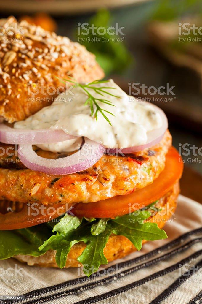 Homemade Organic Salmon Burger stock photo