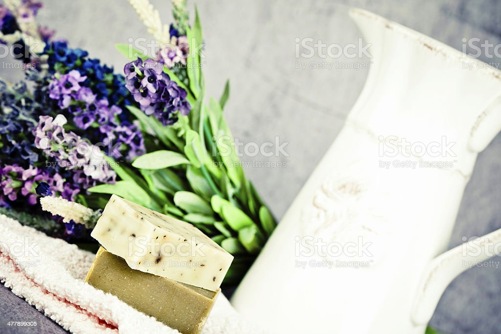 Homemade Organic Soap and Pitcher royalty-free stock photo
