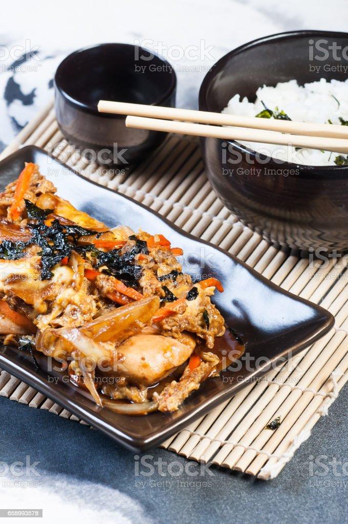 homemade oyakudon stock photo