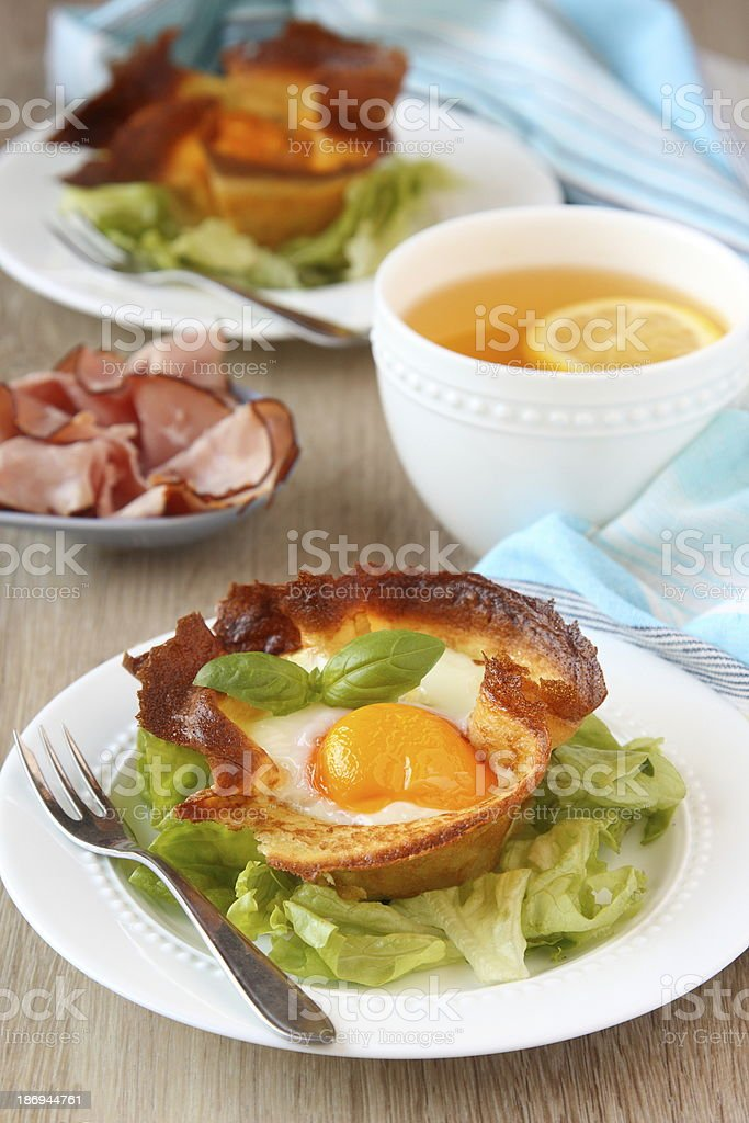 Homemade pancake cups with egg and mushrooms royalty-free stock photo