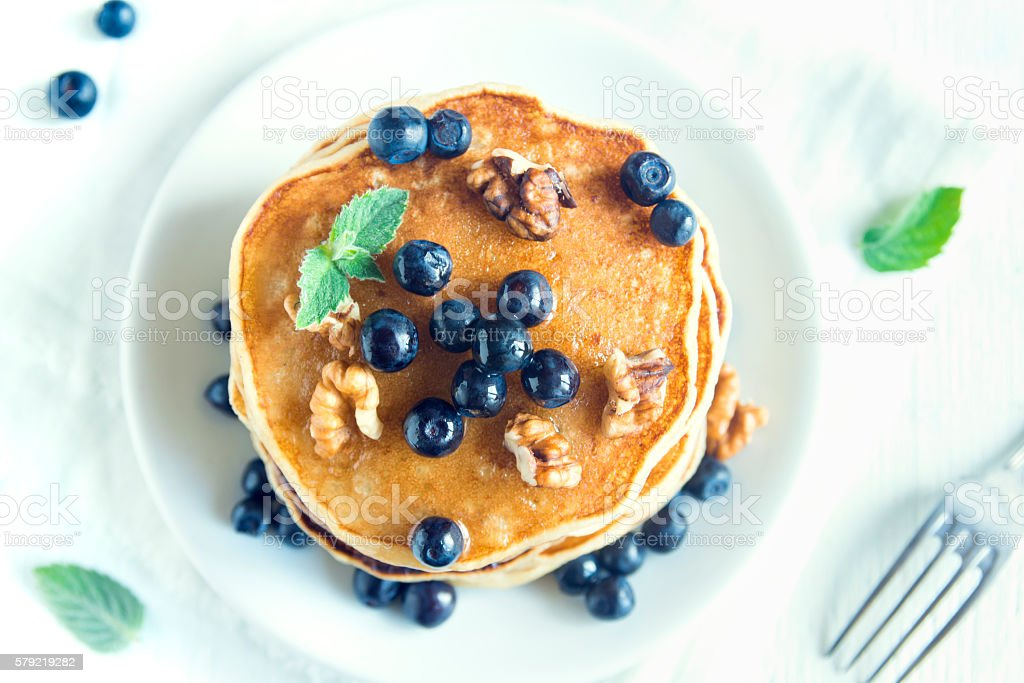 Homemade pancakes with blueberry stock photo