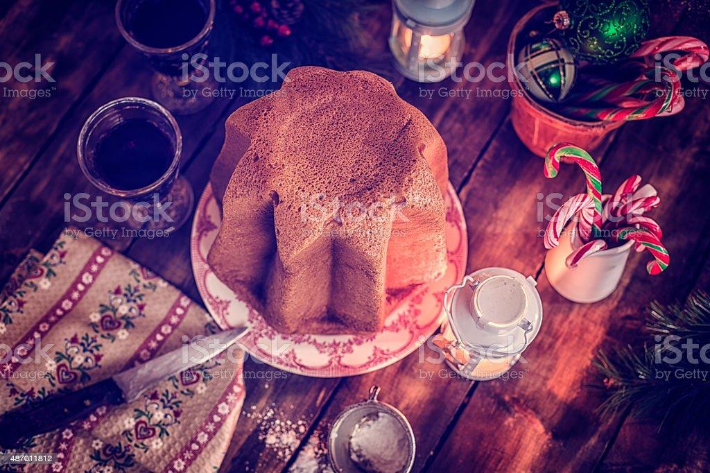 Homemade Pandoro Christmas Cake with Powdered Sugar stock photo