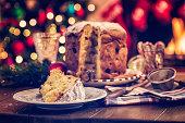 Homemade Panettone Christmas Cake with Powdered Sugar